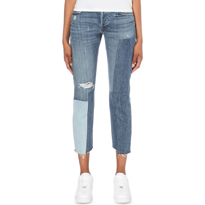 501 Patchwork Slim Fit Mid Rise Jeans, Women's, Ragged Lands - pattern: plain; pocket detail: traditional 5 pocket; style: slim leg; waist: mid/regular rise; predominant colour: denim; occasions: casual; length: calf length; fibres: cotton - stretch; jeans detail: whiskering, rips; texture group: denim; pattern type: fabric; season: s/s 2016; wardrobe: basic