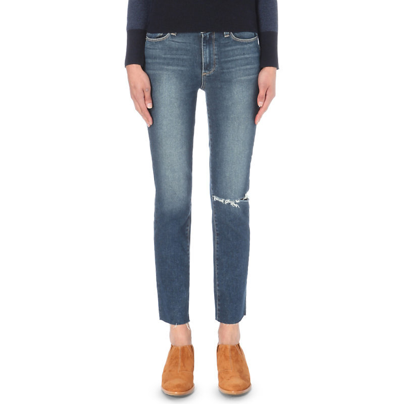 Jacqueline Straight High Rise Jeans, Women's, Axel - style: straight leg; length: standard; pattern: plain; pocket detail: traditional 5 pocket; waist: mid/regular rise; predominant colour: denim; occasions: casual; fibres: cotton - stretch; jeans detail: whiskering, rips; texture group: denim; pattern type: fabric; season: s/s 2016; wardrobe: basic