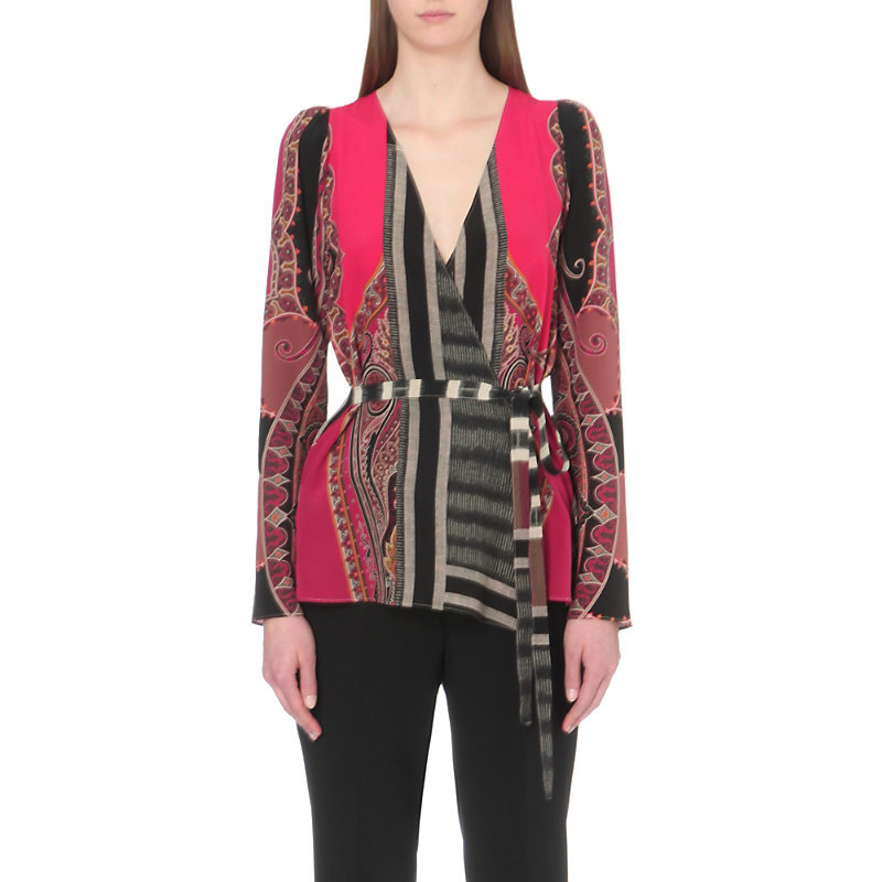 Paisley Print Silk Top, Women's, Red - neckline: low v-neck; style: wrap/faux wrap; waist detail: belted waist/tie at waist/drawstring; predominant colour: hot pink; secondary colour: charcoal; occasions: evening; length: standard; fibres: silk - 100%; fit: body skimming; sleeve length: long sleeve; sleeve style: standard; texture group: silky - light; pattern type: fabric; pattern: patterned/print; pattern size: big & busy (top); multicoloured: multicoloured; season: s/s 2016; wardrobe: event