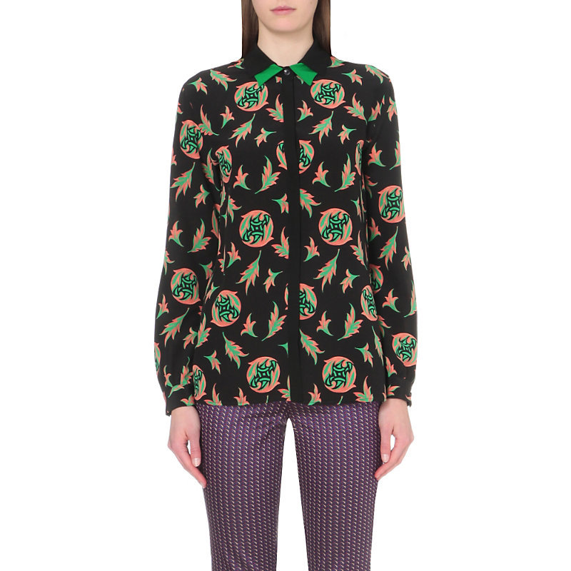 Geometric Print Silk Shirt, Women's, Paisley Leaves - neckline: shirt collar/peter pan/zip with opening; style: shirt; secondary colour: emerald green; predominant colour: black; occasions: casual; length: standard; fibres: silk - 100%; fit: body skimming; sleeve length: long sleeve; sleeve style: standard; texture group: silky - light; pattern type: fabric; pattern: patterned/print; pattern size: big & busy (top); multicoloured: multicoloured; season: s/s 2016; wardrobe: highlight