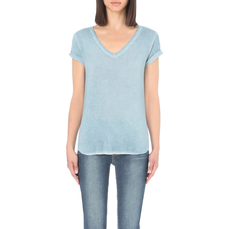 Charlie V Neck Jersey T Shirt, Women's, Size: Medium, Vintage Trooper - neckline: v-neck; pattern: plain; style: t-shirt; predominant colour: pale blue; occasions: casual; length: standard; fibres: cotton - mix; fit: body skimming; sleeve length: short sleeve; sleeve style: standard; pattern type: fabric; texture group: jersey - stretchy/drapey; season: s/s 2016; wardrobe: highlight