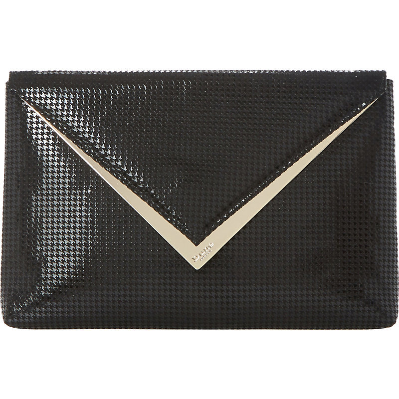 Behan V Trim Houndstooth Envelope Clutch, Women's, Black - predominant colour: black; occasions: evening, occasion; type of pattern: standard; style: clutch; length: hand carry; size: standard; material: leather; pattern: plain; trends: monochrome; finish: plain; season: s/s 2016