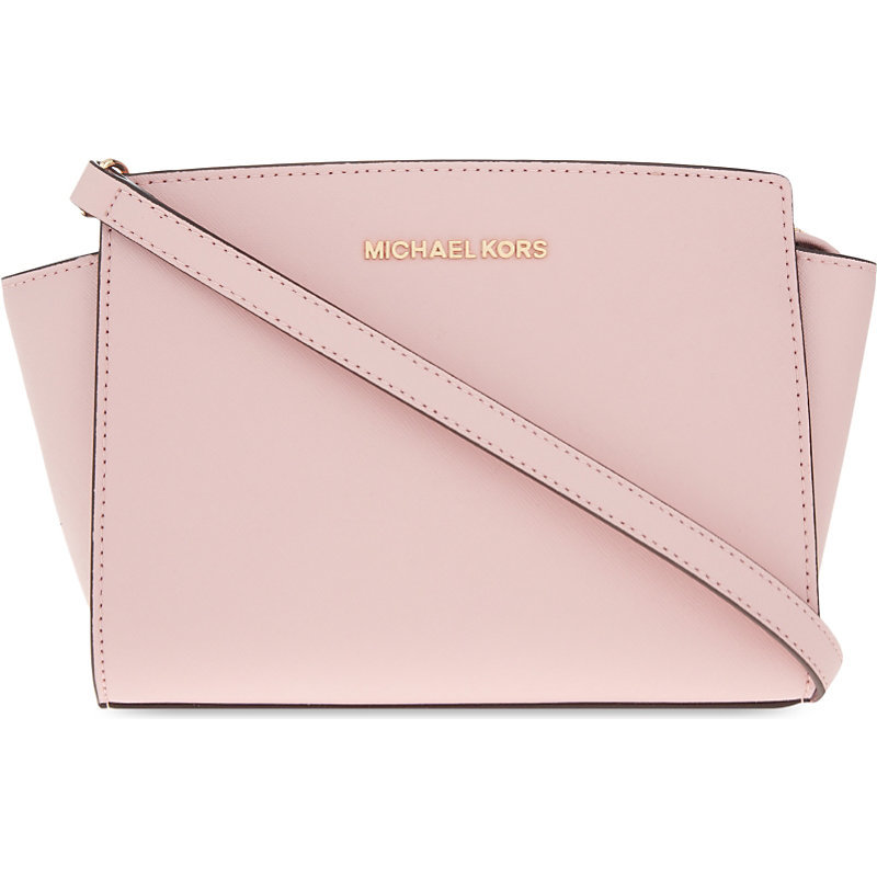 Selma Medium Leather Cross Body Bag, Blossom - predominant colour: blush; occasions: casual, creative work; type of pattern: standard; style: tote; length: across body/long; size: standard; material: leather; pattern: plain; finish: plain; season: s/s 2016; wardrobe: investment