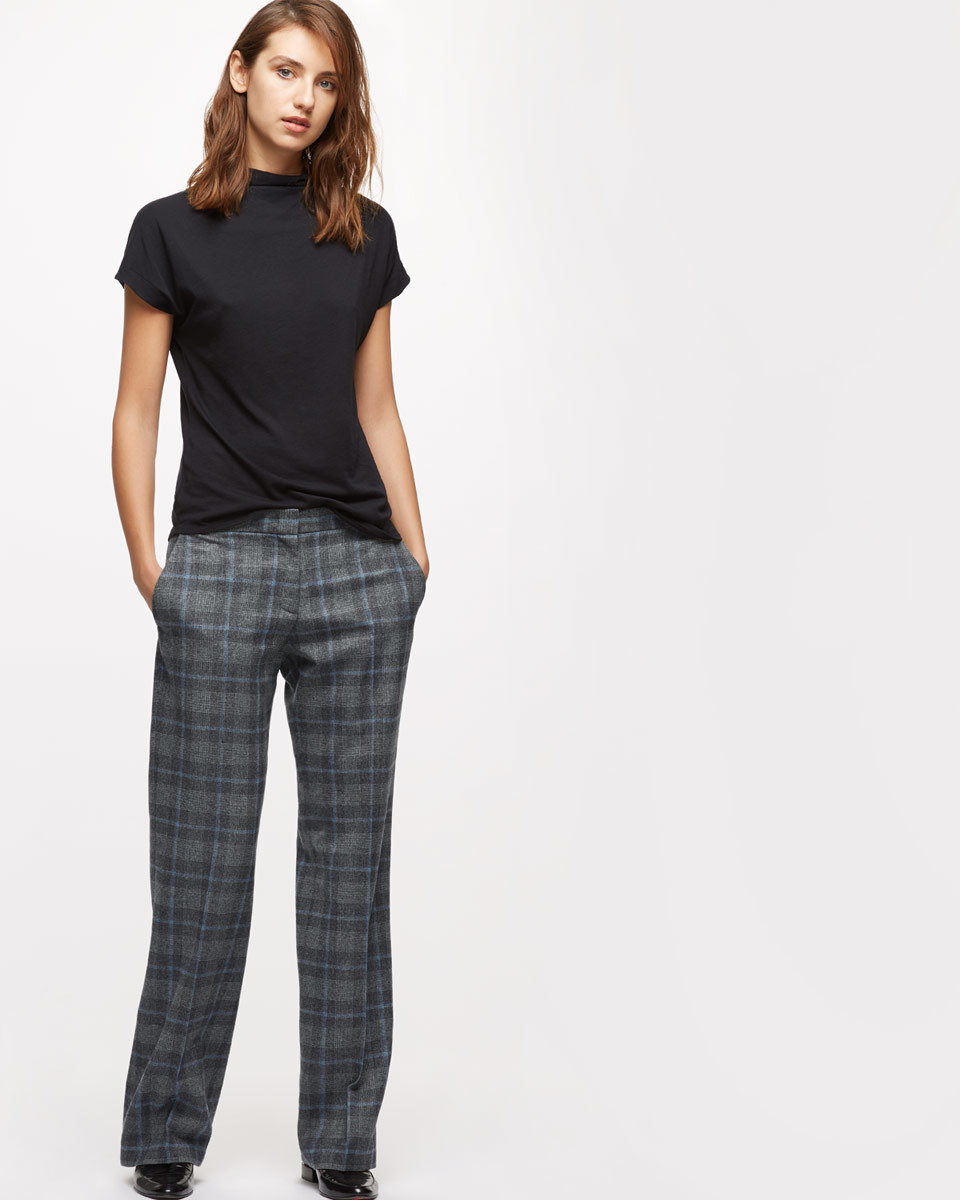 Wool Melange Check City Trousers - length: standard; pattern: checked/gingham; waist: mid/regular rise; predominant colour: charcoal; secondary colour: mid grey; occasions: work; fibres: wool - 100%; fit: straight leg; pattern type: fabric; texture group: other - light to midweight; style: standard; pattern size: standard (bottom); season: s/s 2016; wardrobe: highlight