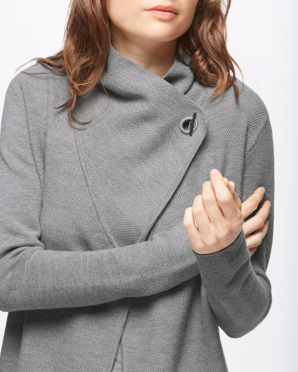 Ring Fastening Pique Cardigan - neckline: v-neck; pattern: plain; style: wrap; predominant colour: mid grey; occasions: casual, creative work; length: standard; fibres: wool - 100%; fit: standard fit; sleeve length: long sleeve; sleeve style: standard; texture group: knits/crochet; pattern type: knitted - fine stitch; season: s/s 2016; wardrobe: basic