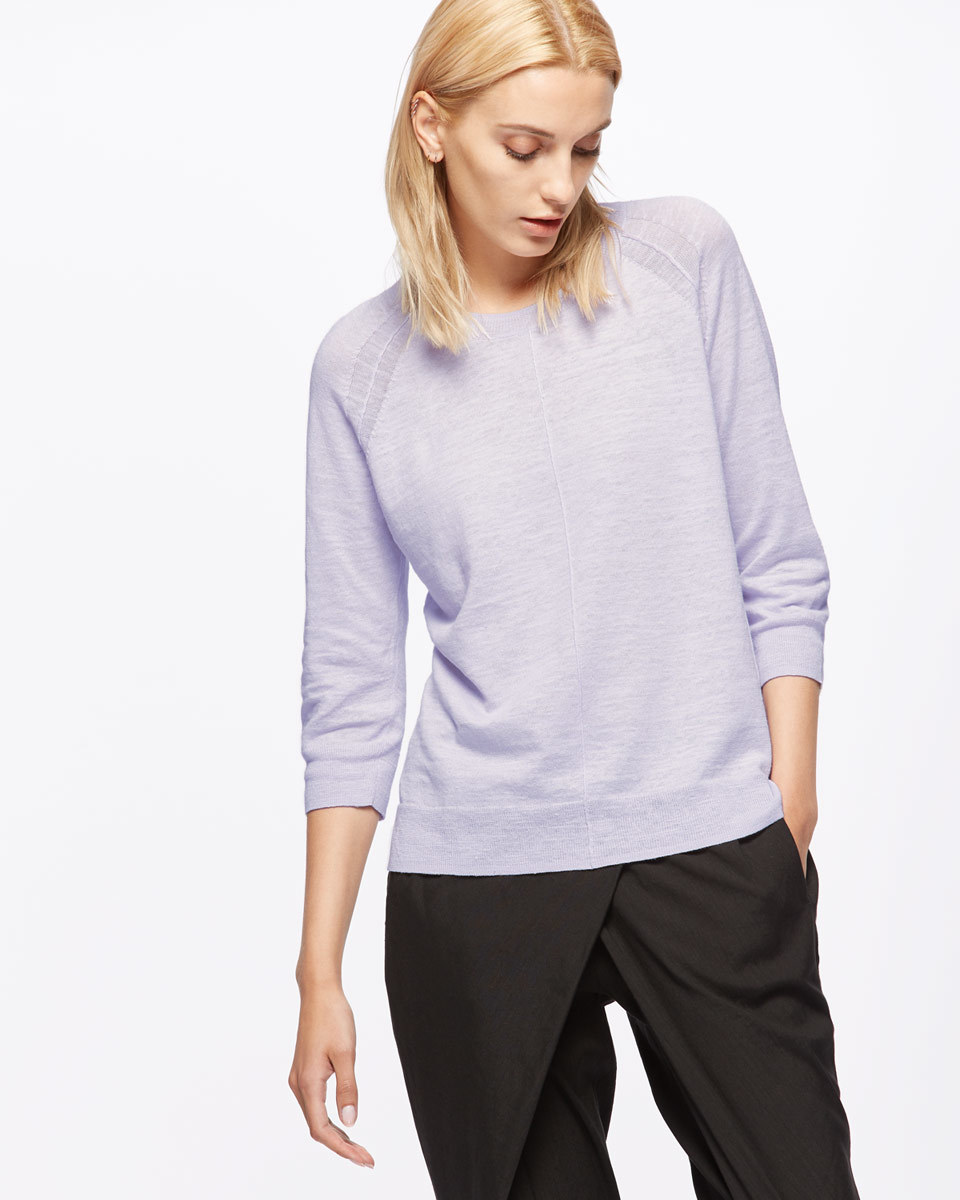 Cotton Slub Three Quarter Length Sleeve Jumper - neckline: round neck; pattern: plain; style: standard; predominant colour: lilac; occasions: casual, work, creative work; length: standard; fibres: cotton - mix; fit: standard fit; sleeve length: 3/4 length; sleeve style: standard; texture group: knits/crochet; pattern type: knitted - fine stitch; season: s/s 2016; wardrobe: highlight