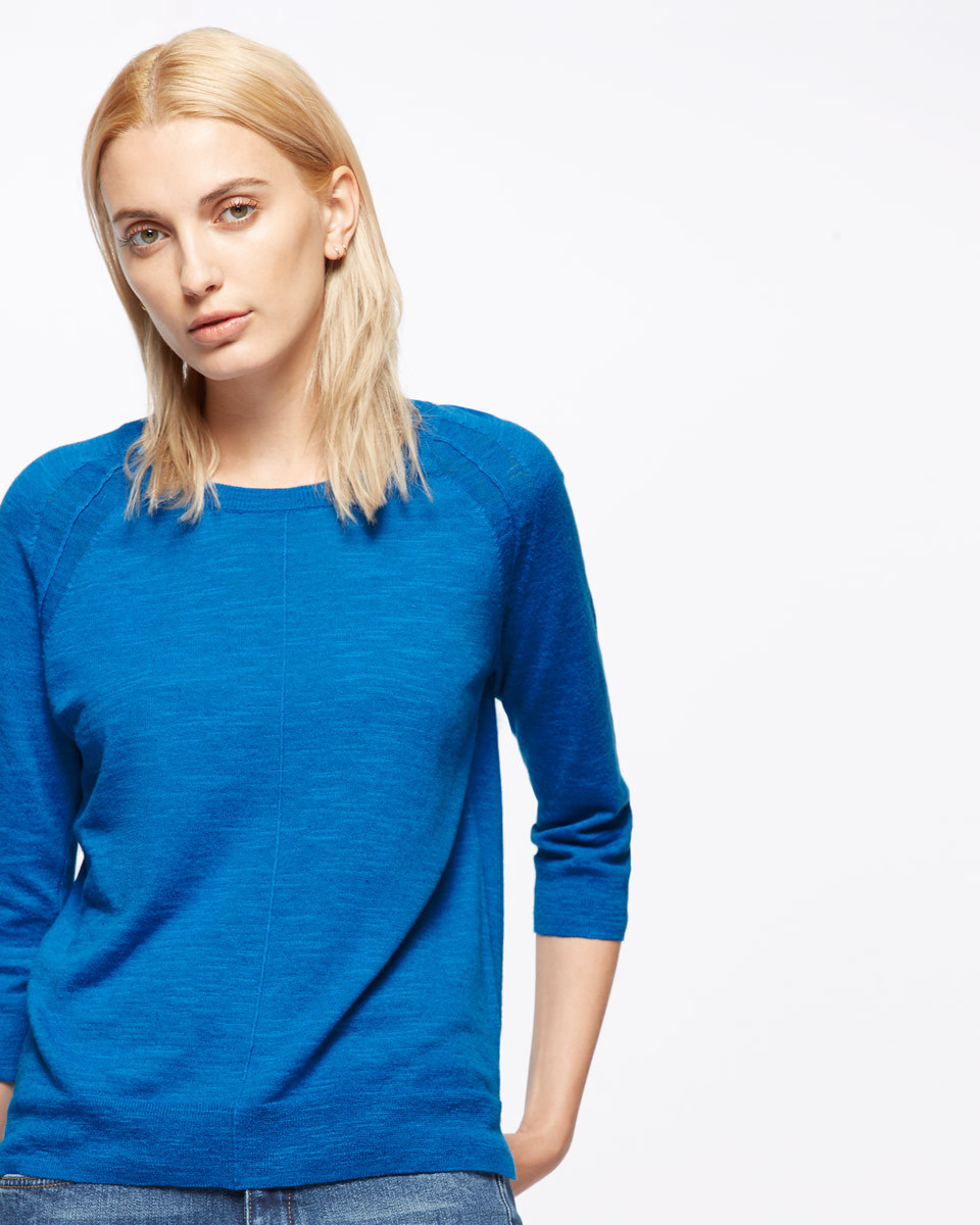 Cotton Slub Three Quarter Length Sleeve Jumper - neckline: round neck; sleeve style: raglan; pattern: plain; style: standard; predominant colour: diva blue; occasions: casual, work, creative work; length: standard; fibres: cotton - 100%; fit: standard fit; sleeve length: 3/4 length; texture group: knits/crochet; pattern type: knitted - fine stitch; season: s/s 2016; wardrobe: highlight