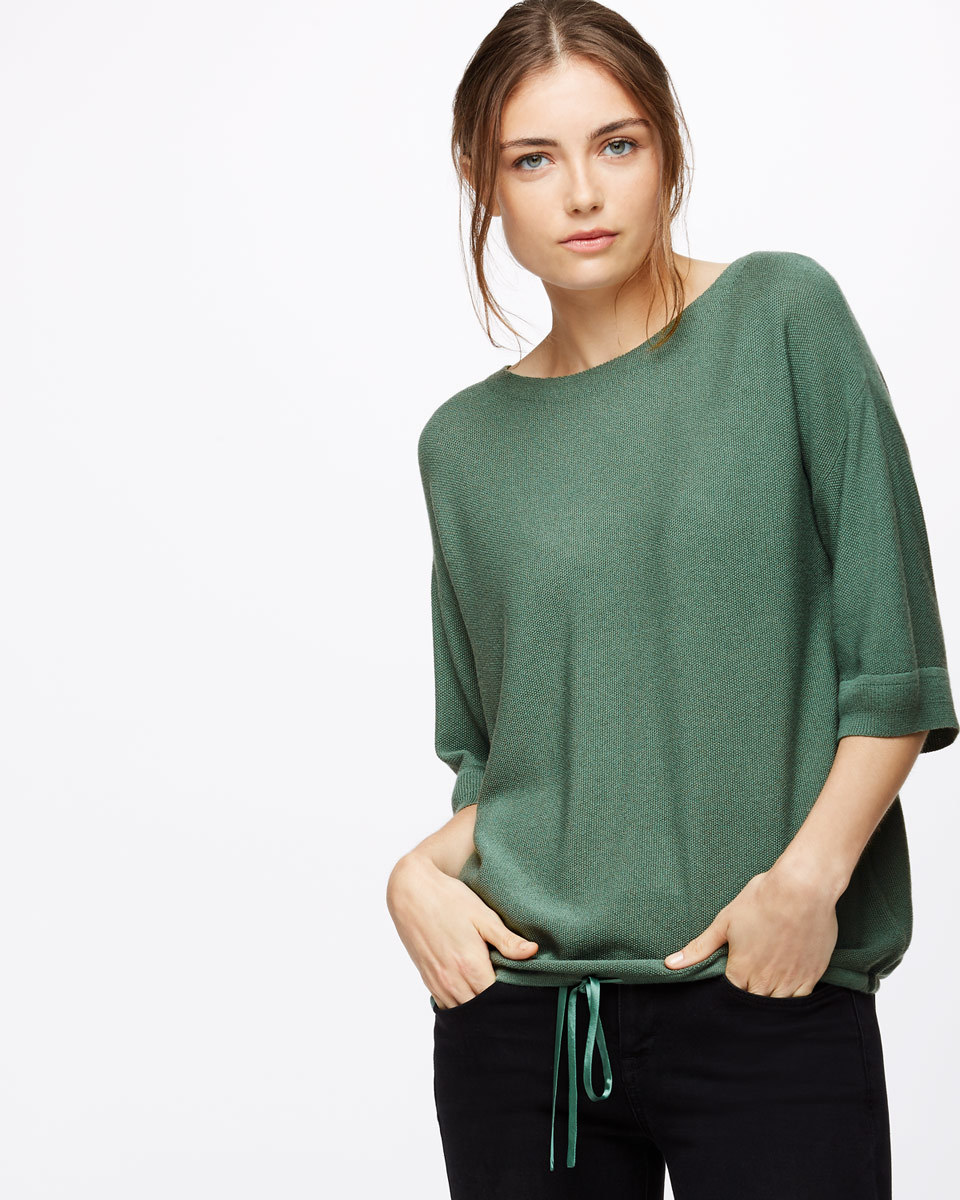 Drawstring Hem Boat Neck Jumper - pattern: plain; predominant colour: dark green; occasions: casual; length: standard; style: top; fibres: viscose/rayon - 100%; fit: loose; neckline: crew; sleeve length: 3/4 length; sleeve style: standard; texture group: knits/crochet; pattern type: knitted - fine stitch; season: s/s 2016; wardrobe: highlight