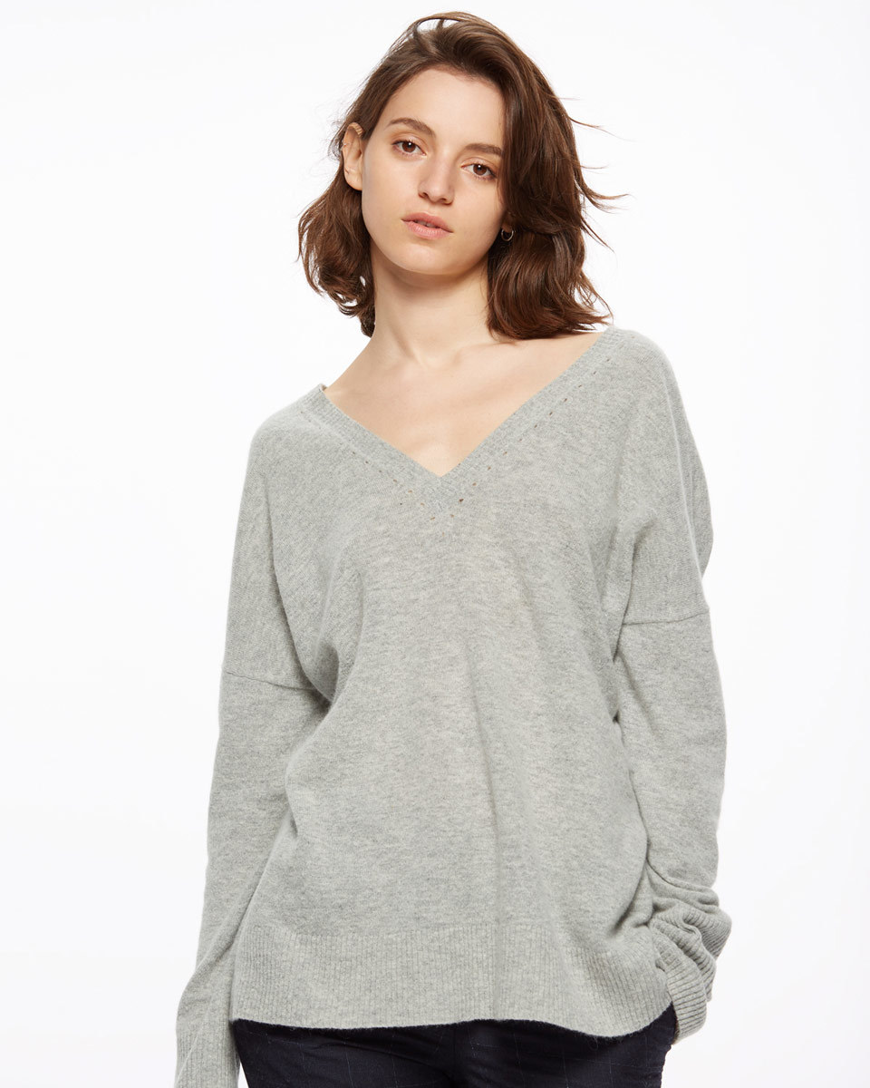 V Back Jumper With Pointelle - neckline: low v-neck; sleeve style: dolman/batwing; pattern: plain; style: standard; predominant colour: light grey; occasions: casual, creative work; length: standard; fibres: cotton - mix; fit: loose; back detail: longer hem at back than at front; sleeve length: long sleeve; texture group: knits/crochet; pattern type: knitted - fine stitch; season: s/s 2016