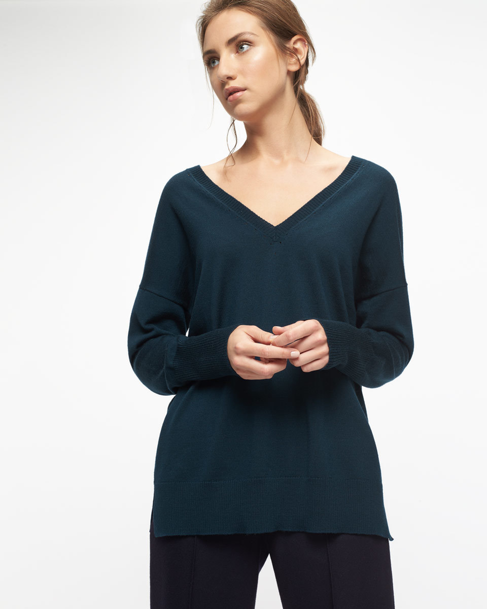 V Back Jumper With Pointelle - neckline: low v-neck; sleeve style: dolman/batwing; pattern: plain; style: standard; predominant colour: teal; occasions: casual, creative work; length: standard; fibres: wool - mix; fit: standard fit; back detail: longer hem at back than at front; sleeve length: long sleeve; texture group: knits/crochet; pattern type: knitted - fine stitch; season: s/s 2016; wardrobe: highlight