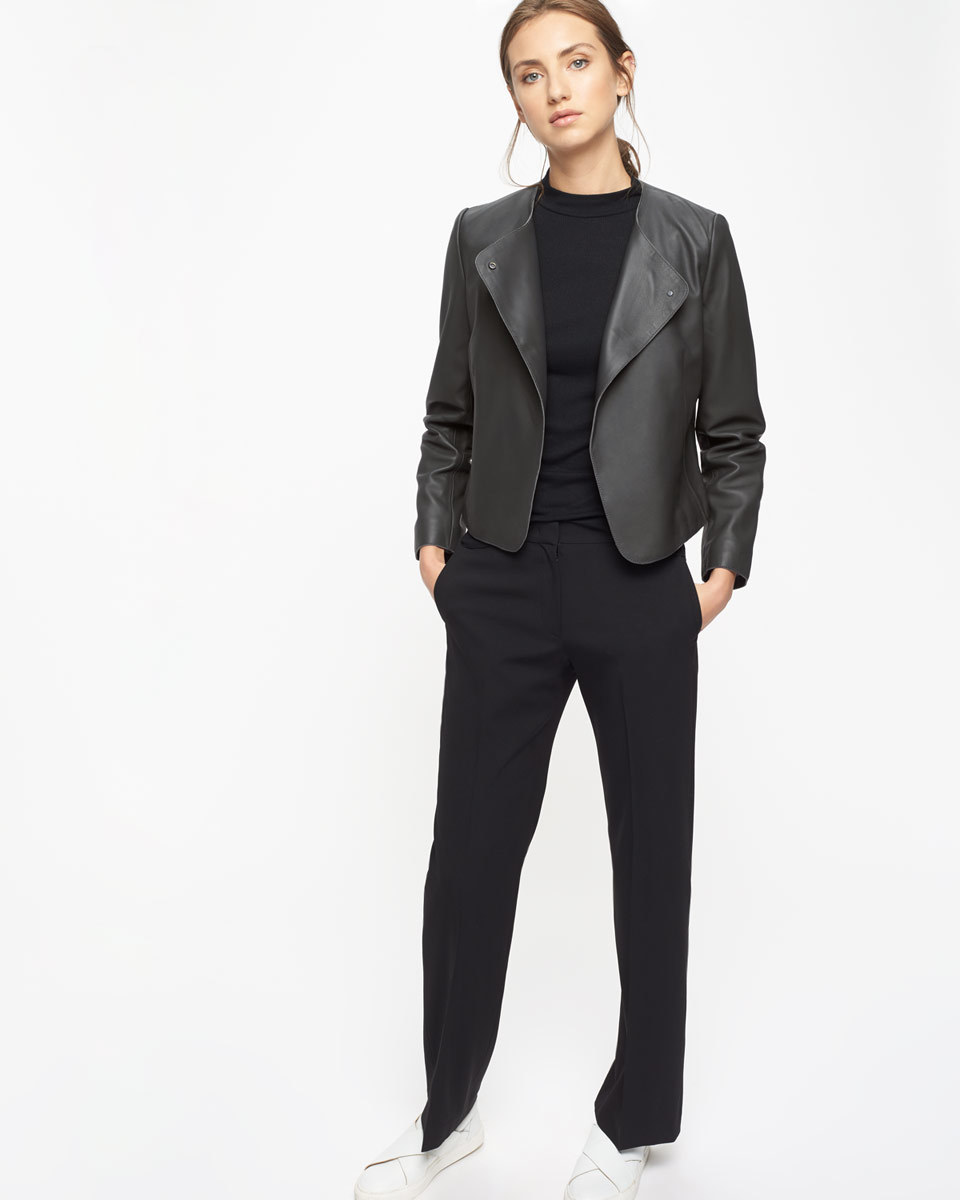 Short Leather Jacket - pattern: plain; style: single breasted blazer; collar: wide lapels; fit: slim fit; predominant colour: black; length: standard; fibres: leather - 100%; sleeve length: long sleeve; sleeve style: standard; texture group: leather; collar break: low/open; pattern type: fabric; occasions: creative work; season: s/s 2016