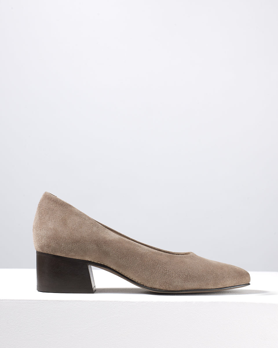Mila Court Shoe - predominant colour: taupe; occasions: evening; material: velvet; heel height: mid; heel: block; toe: pointed toe; style: courts; finish: plain; pattern: plain; season: s/s 2016; wardrobe: event