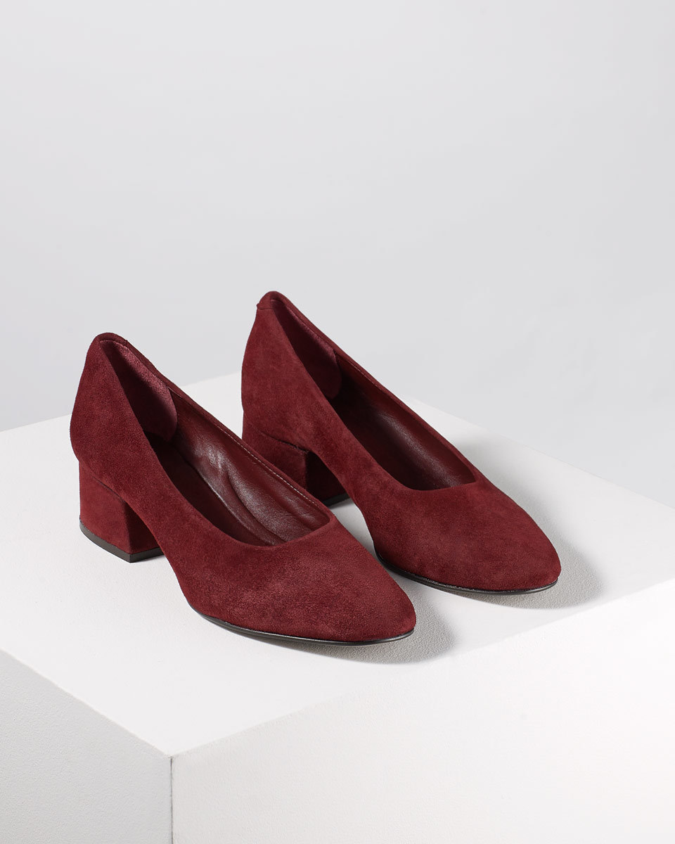 Mila Court Shoe - predominant colour: burgundy; occasions: work, creative work; material: suede; heel height: mid; heel: block; toe: round toe; style: courts; finish: plain; pattern: plain; season: s/s 2016; wardrobe: highlight