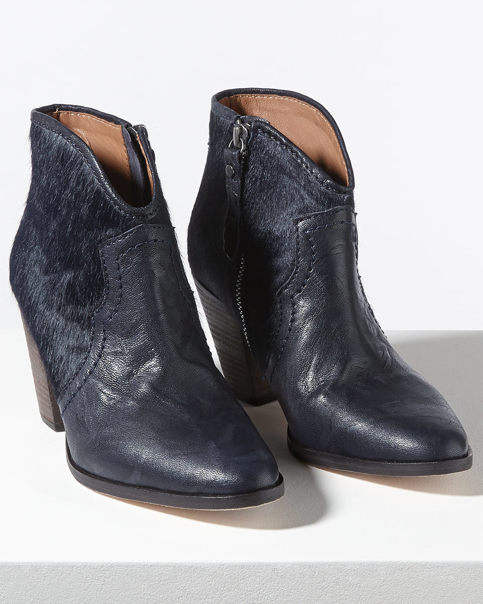 Cara Textured Side Zip Boot - predominant colour: navy; occasions: casual; material: leather; heel height: mid; heel: block; toe: pointed toe; boot length: ankle boot; style: standard; finish: plain; pattern: plain; season: s/s 2016; wardrobe: basic