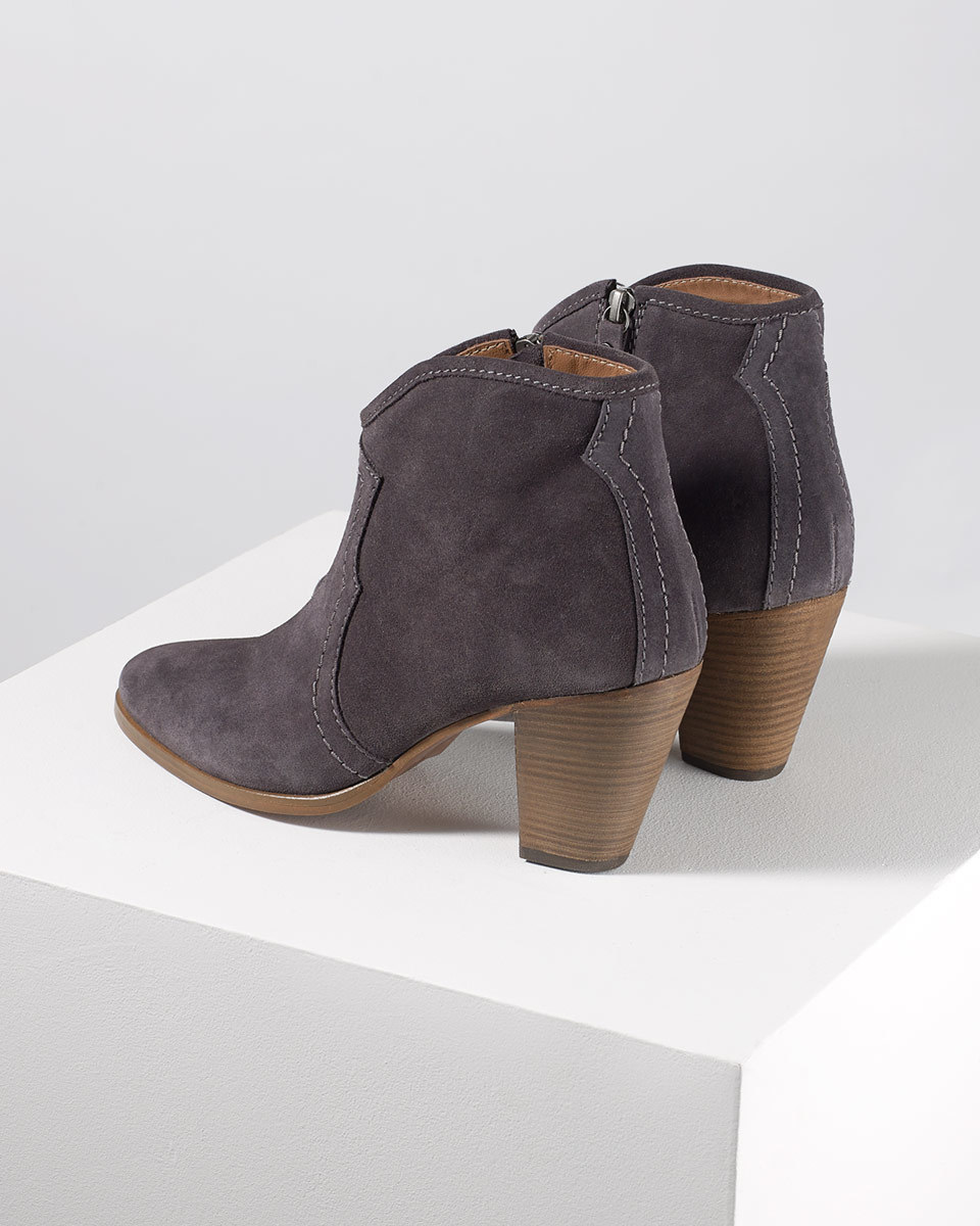Cara Suede Side Zip Boot - predominant colour: black; occasions: casual, creative work; material: suede; heel height: high; heel: block; toe: round toe; boot length: ankle boot; style: standard; finish: plain; pattern: plain; season: s/s 2016; wardrobe: highlight