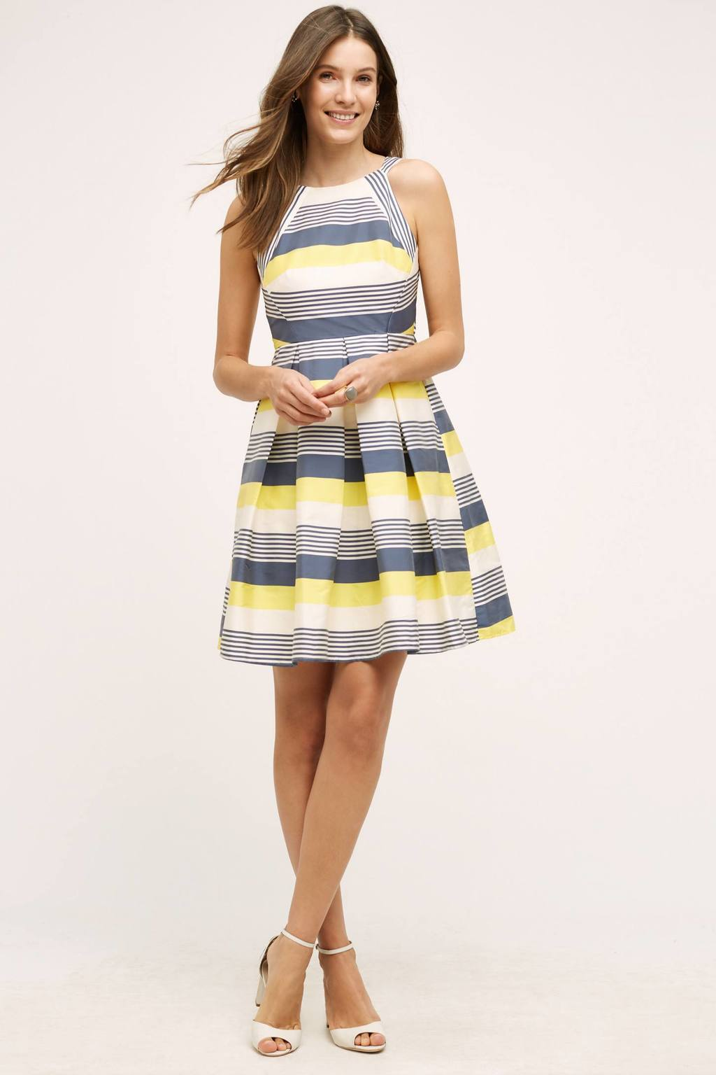 Canary Lined Dress - neckline: round neck; pattern: horizontal stripes; sleeve style: sleeveless; secondary colour: yellow; predominant colour: light grey; occasions: evening; length: just above the knee; fit: fitted at waist & bust; style: fit & flare; fibres: polyester/polyamide - 100%; sleeve length: sleeveless; pattern type: fabric; texture group: other - light to midweight; season: s/s 2016; wardrobe: event