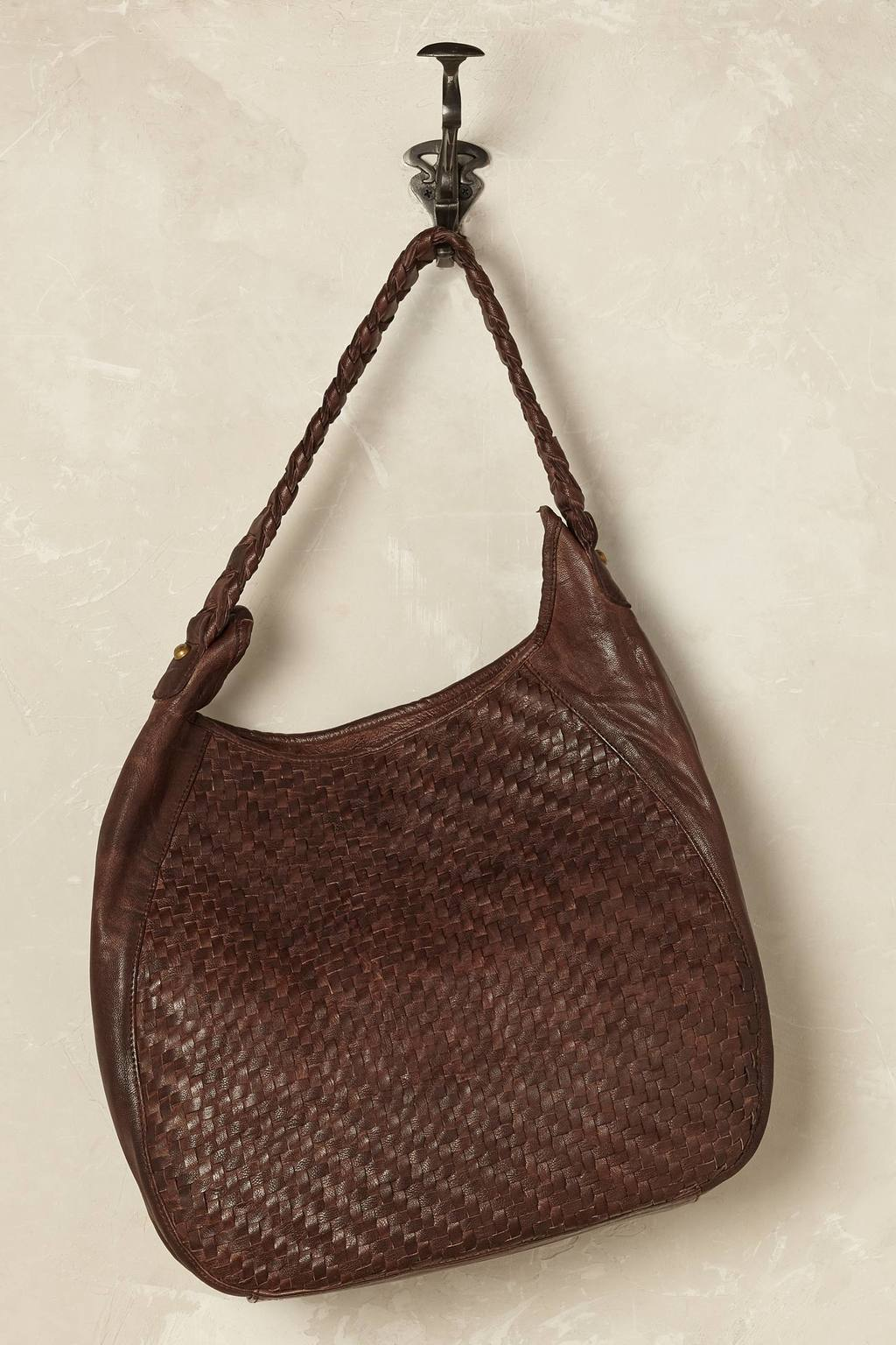 Brasilia Woven Shoulder Bag - predominant colour: chocolate brown; occasions: casual; type of pattern: standard; style: shoulder; length: shoulder (tucks under arm); size: standard; material: leather; pattern: plain; finish: plain; season: s/s 2016
