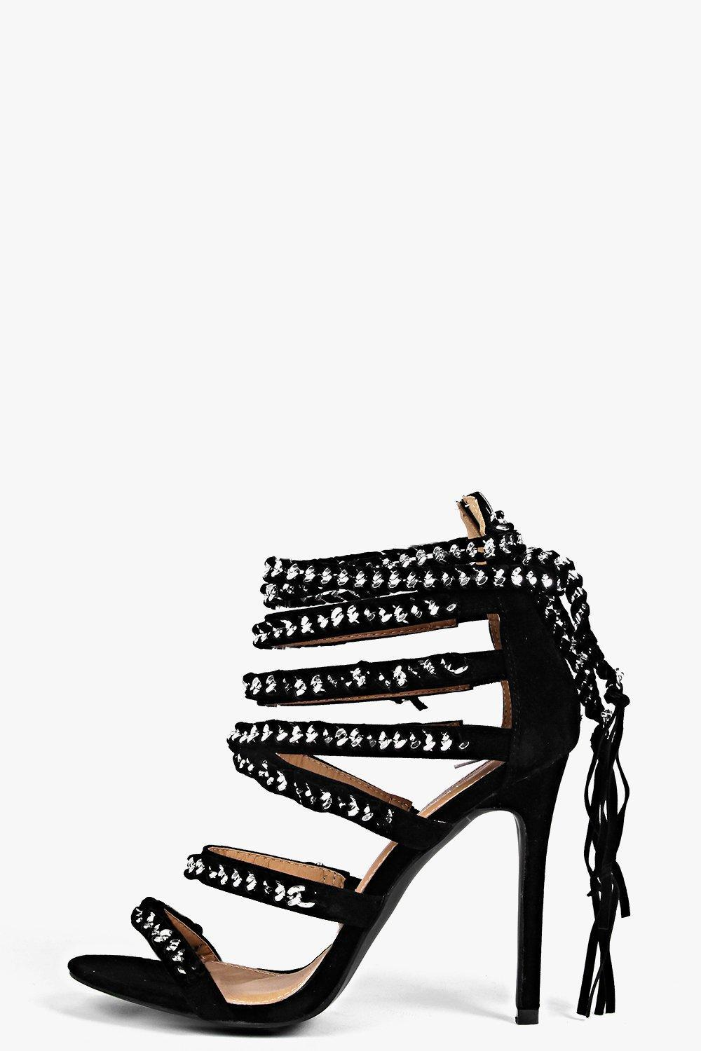 Chain And Multi Strap Heels Black - predominant colour: black; occasions: evening, occasion; material: faux leather; heel height: high; embellishment: feathers; ankle detail: ankle tie; heel: stiletto; toe: open toe/peeptoe; style: strappy; finish: plain; pattern: colourblock; season: s/s 2016; wardrobe: event