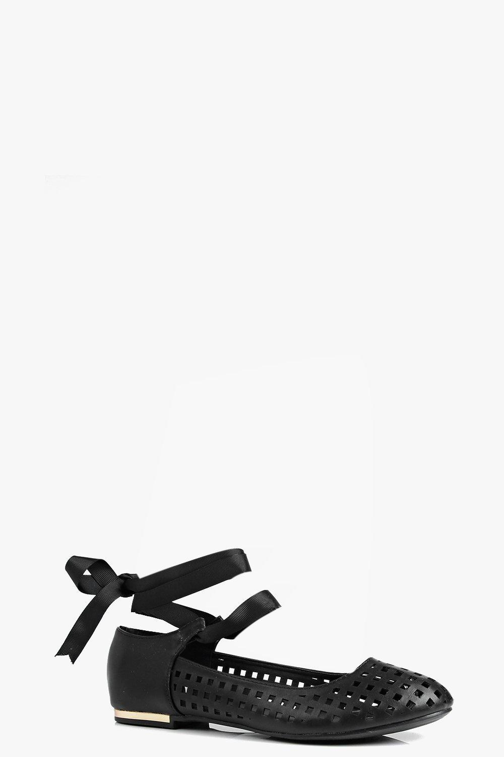 Lazer Cut Ribbon Tie Ballet Black - predominant colour: black; occasions: casual; material: faux leather; heel height: flat; embellishment: ribbon; ankle detail: ankle tie; toe: round toe; style: ballerinas / pumps; finish: plain; pattern: plain; season: s/s 2016; wardrobe: basic