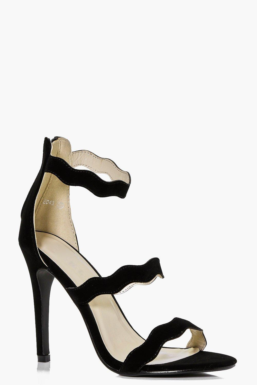 Three Wave Strap Heels Black - predominant colour: black; occasions: evening, occasion; material: faux leather; heel height: high; ankle detail: ankle strap; heel: stiletto; toe: open toe/peeptoe; style: strappy; finish: plain; pattern: plain; season: s/s 2016; wardrobe: event