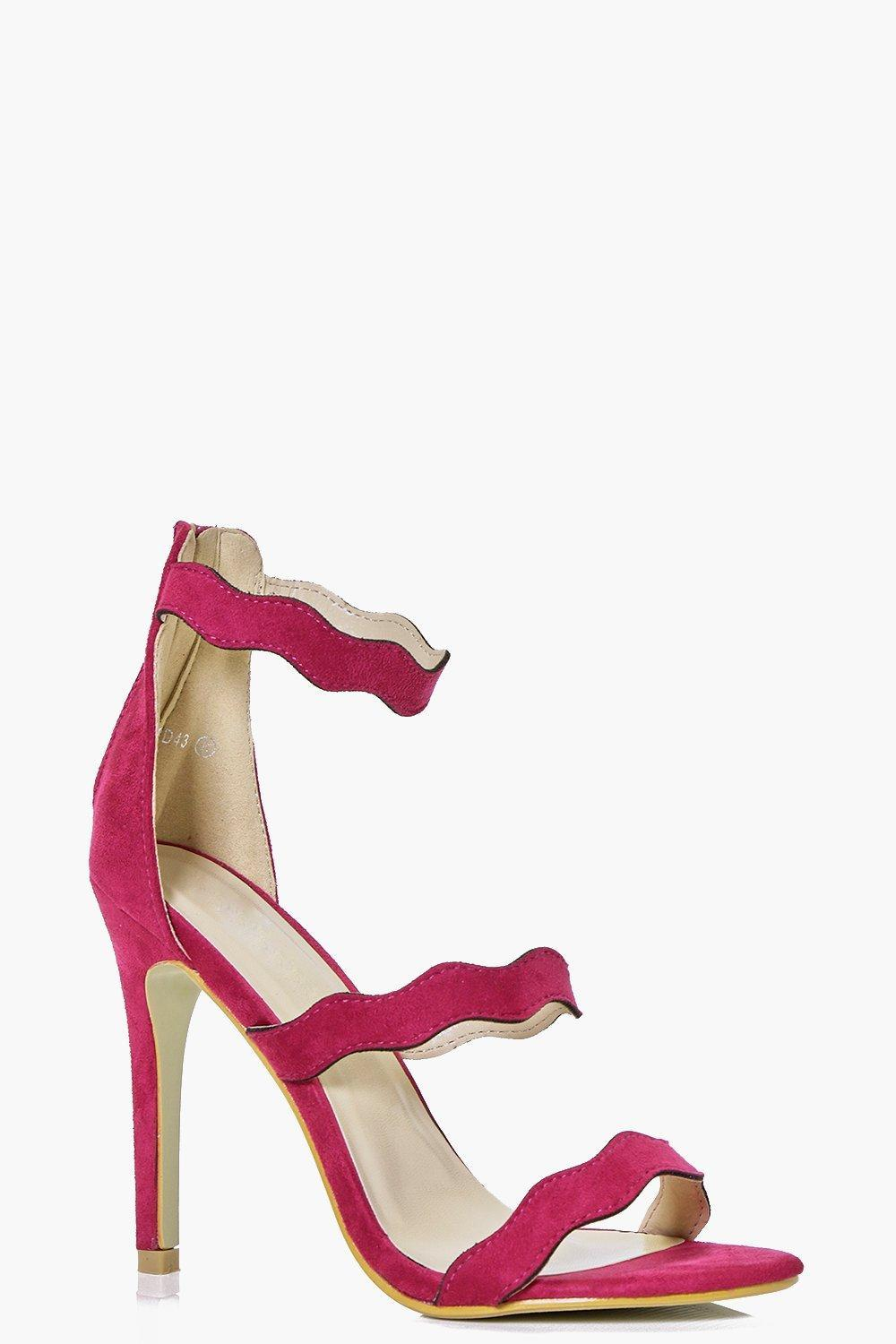 Three Wave Strap Heels Fuchsia - predominant colour: hot pink; occasions: evening, occasion; material: faux leather; heel height: high; ankle detail: ankle strap; heel: stiletto; toe: open toe/peeptoe; style: strappy; finish: plain; pattern: plain; season: s/s 2016; wardrobe: event