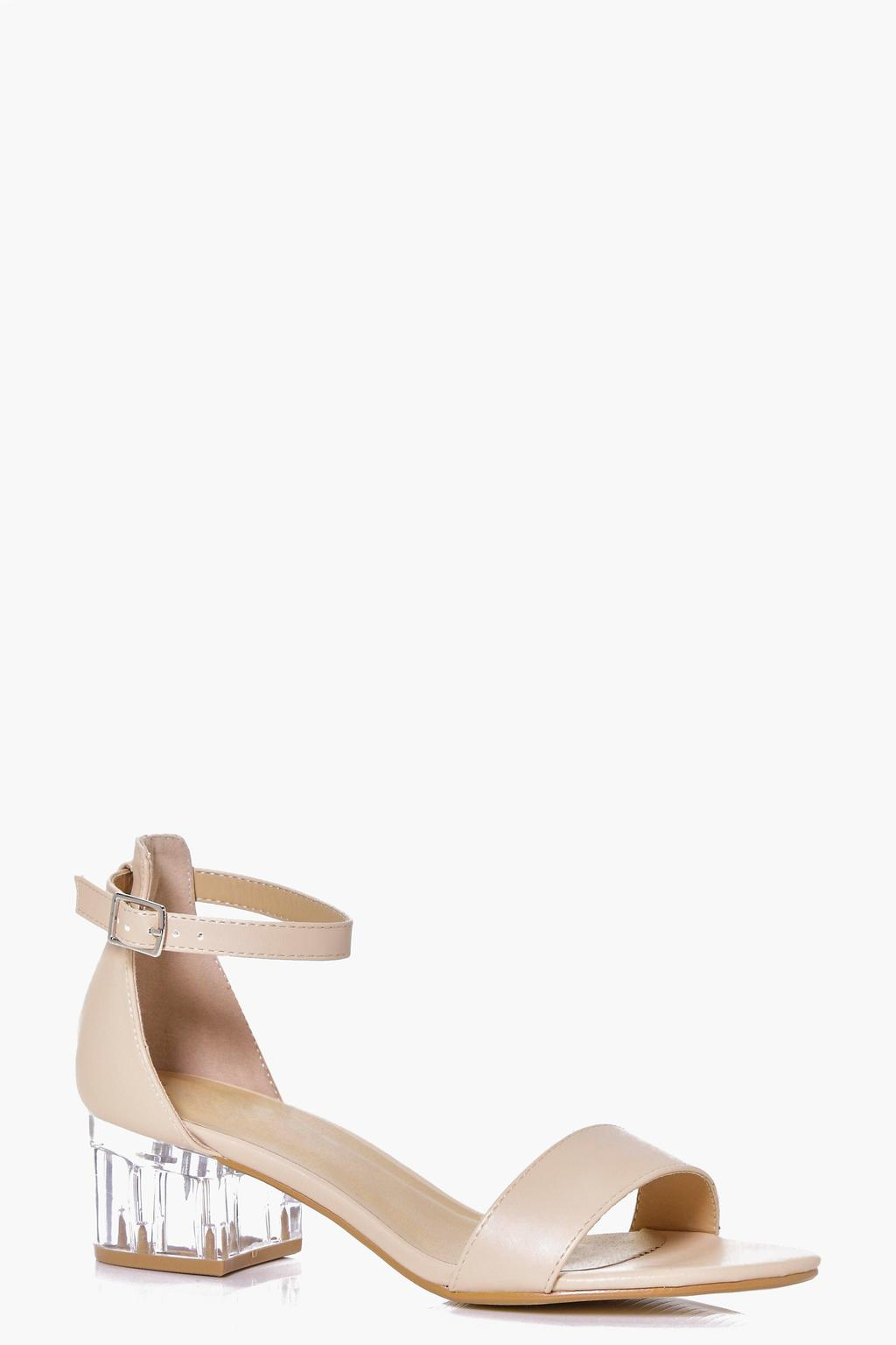 Clear Low Block Heel Sandal Nude - predominant colour: nude; occasions: casual, holiday, creative work; material: faux leather; heel height: mid; ankle detail: ankle strap; heel: block; toe: open toe/peeptoe; style: standard; finish: patent; pattern: plain; season: s/s 2016; wardrobe: investment