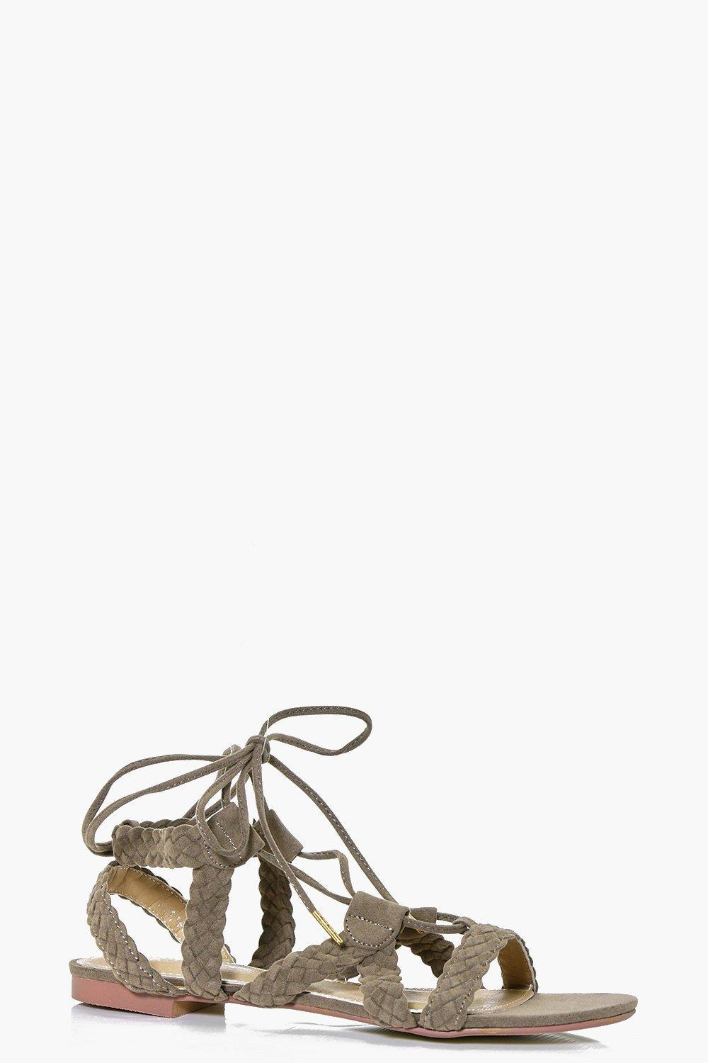 Plaited Lace Up Sandal Khaki - predominant colour: khaki; occasions: casual, holiday; material: faux leather; heel height: flat; ankle detail: ankle tie; heel: block; toe: open toe/peeptoe; style: gladiators; finish: plain; pattern: plain; season: s/s 2016; wardrobe: basic