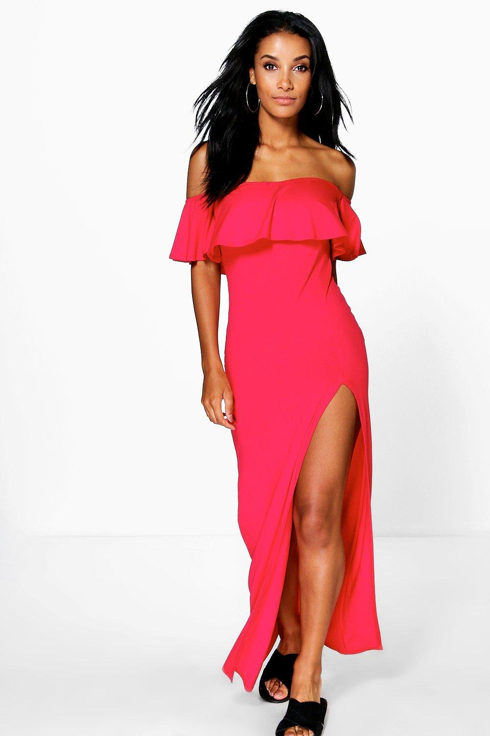 Ruffle Split Side Maxi Dress Red - neckline: off the shoulder; pattern: plain; style: maxi dress; hip detail: draws attention to hips; bust detail: subtle bust detail; predominant colour: hot pink; length: floor length; fit: body skimming; fibres: viscose/rayon - stretch; sleeve length: short sleeve; sleeve style: standard; occasions: holiday; pattern type: fabric; texture group: jersey - stretchy/drapey; season: s/s 2016; wardrobe: holiday