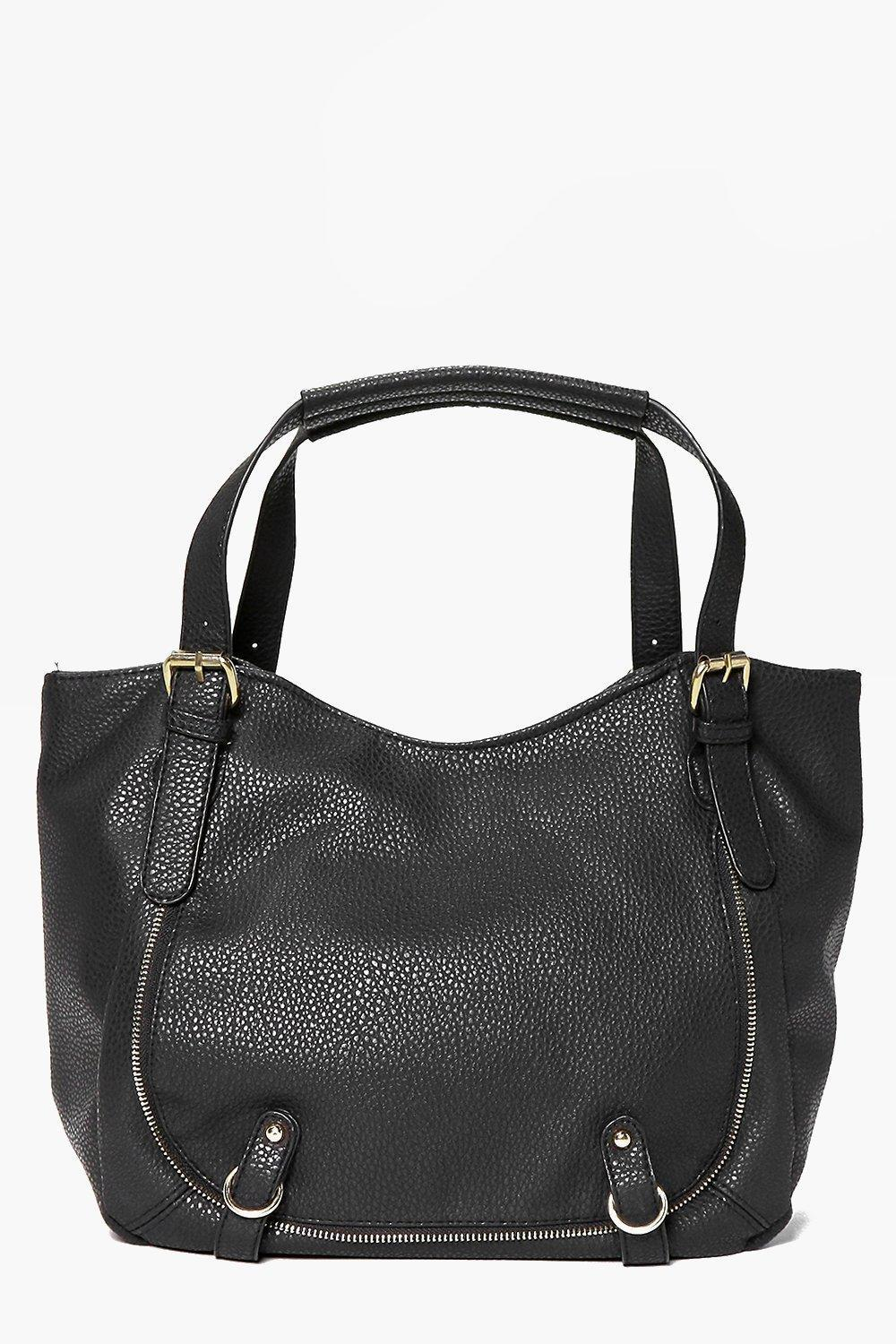 Pocket Detail Slouch Day Bag Black - predominant colour: black; occasions: casual, creative work; type of pattern: standard; style: tote; length: handle; size: standard; material: faux leather; pattern: plain; finish: plain; season: s/s 2016; wardrobe: investment