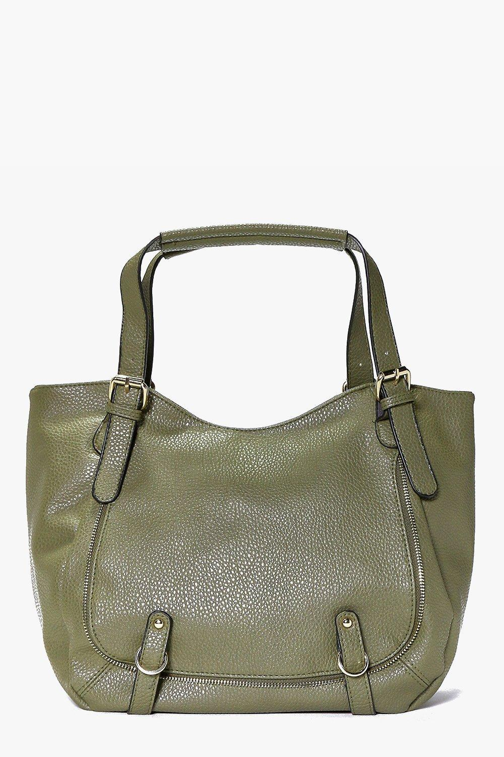 Pocket Detail Slouch Day Bag Khaki - predominant colour: khaki; occasions: casual, creative work; type of pattern: standard; style: tote; length: handle; size: oversized; material: faux leather; pattern: plain; finish: plain; season: s/s 2016; wardrobe: investment