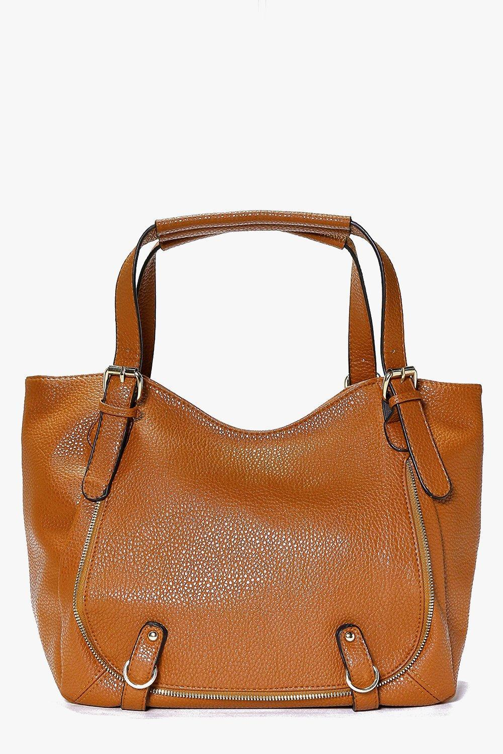 Pocket Detail Slouch Day Bag Tan - predominant colour: tan; occasions: casual, creative work; type of pattern: standard; style: tote; length: handle; size: standard; material: faux leather; pattern: plain; finish: plain; season: s/s 2016