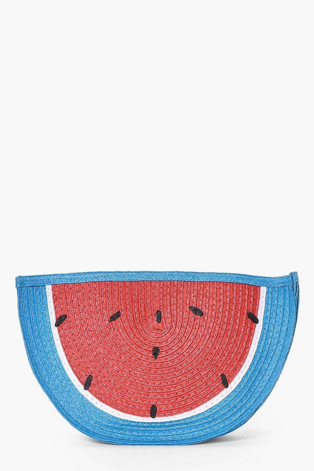 Watermelon Straw Clutch Bag Multi - secondary colour: true red; predominant colour: diva blue; occasions: evening, occasion; type of pattern: large; style: clutch; length: hand carry; size: small; material: fabric; finish: plain; pattern: patterned/print; multicoloured: multicoloured; season: s/s 2016; wardrobe: event