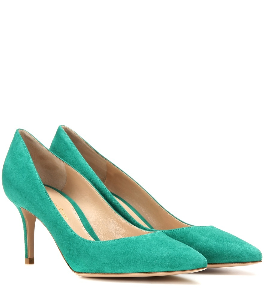 Gianvito 70 Suede Pumps - predominant colour: emerald green; occasions: evening; material: suede; heel height: high; heel: stiletto; toe: pointed toe; style: courts; finish: plain; pattern: plain; season: s/s 2016; wardrobe: event