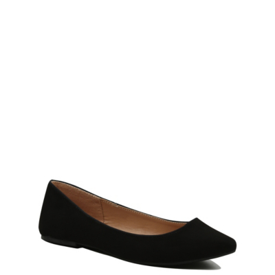 Faux Suede Ballet Shoes Black - predominant colour: black; occasions: casual, work, creative work; heel height: flat; toe: pointed toe; style: ballerinas / pumps; finish: plain; pattern: plain; material: faux suede; season: s/s 2016; wardrobe: basic