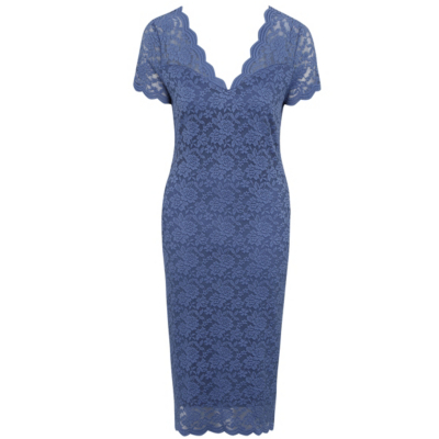 Lace Pencil Dress Blue - style: shift; neckline: v-neck; fit: tailored/fitted; predominant colour: denim; occasions: evening; length: on the knee; fibres: polyester/polyamide - stretch; sleeve length: short sleeve; sleeve style: standard; texture group: lace; pattern type: fabric; pattern: patterned/print; season: s/s 2016; wardrobe: event