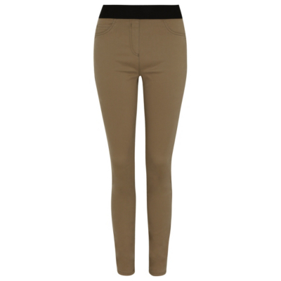 Elasticated Waistband Jeggings Nude - length: standard; pattern: plain; style: peg leg; waist: high rise; pocket detail: pockets at the sides; predominant colour: khaki; secondary colour: black; occasions: casual, creative work; fibres: cotton - mix; texture group: jersey - clingy; fit: tapered; pattern type: fabric; season: s/s 2016