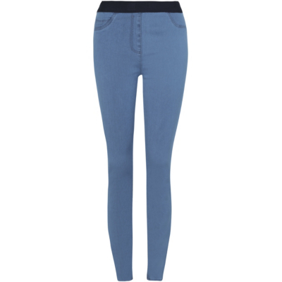 Elasticated Waistband Jeggings Light Denim - length: standard; pattern: plain; waist: high rise; style: jeggings; predominant colour: denim; occasions: casual; fibres: cotton - stretch; texture group: denim; pattern type: fabric; season: s/s 2016