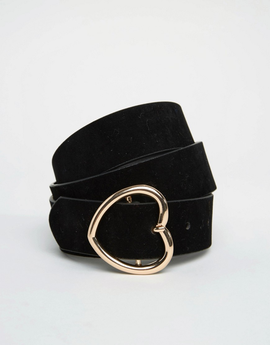 Heart Buckle Waist And Hip Belt Black - predominant colour: black; occasions: casual, creative work; type of pattern: standard; style: classic; size: standard; worn on: hips; material: faux leather; pattern: plain; finish: plain; season: s/s 2016