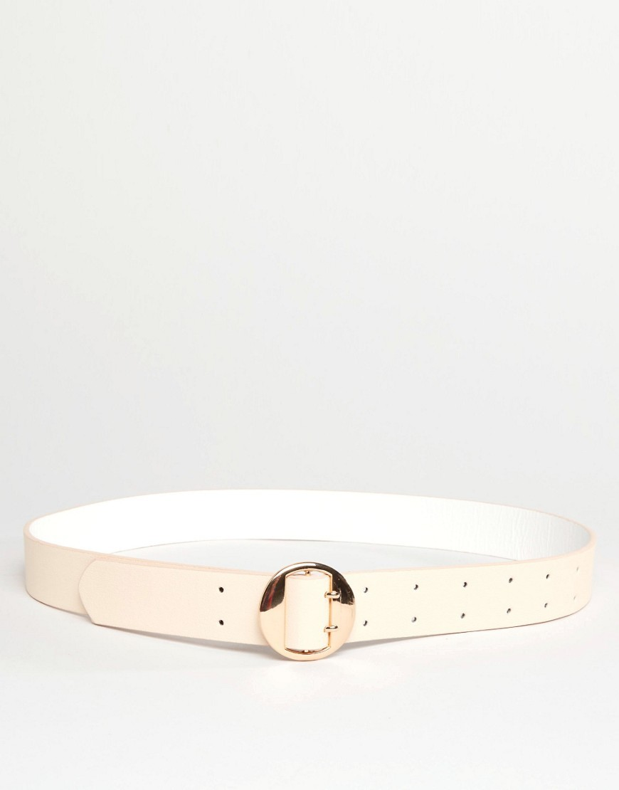Double Prong Round Waist And Hip Belt Nude - predominant colour: nude; occasions: casual; type of pattern: standard; style: classic; size: standard; worn on: hips; material: faux leather; pattern: plain; finish: plain; season: s/s 2016