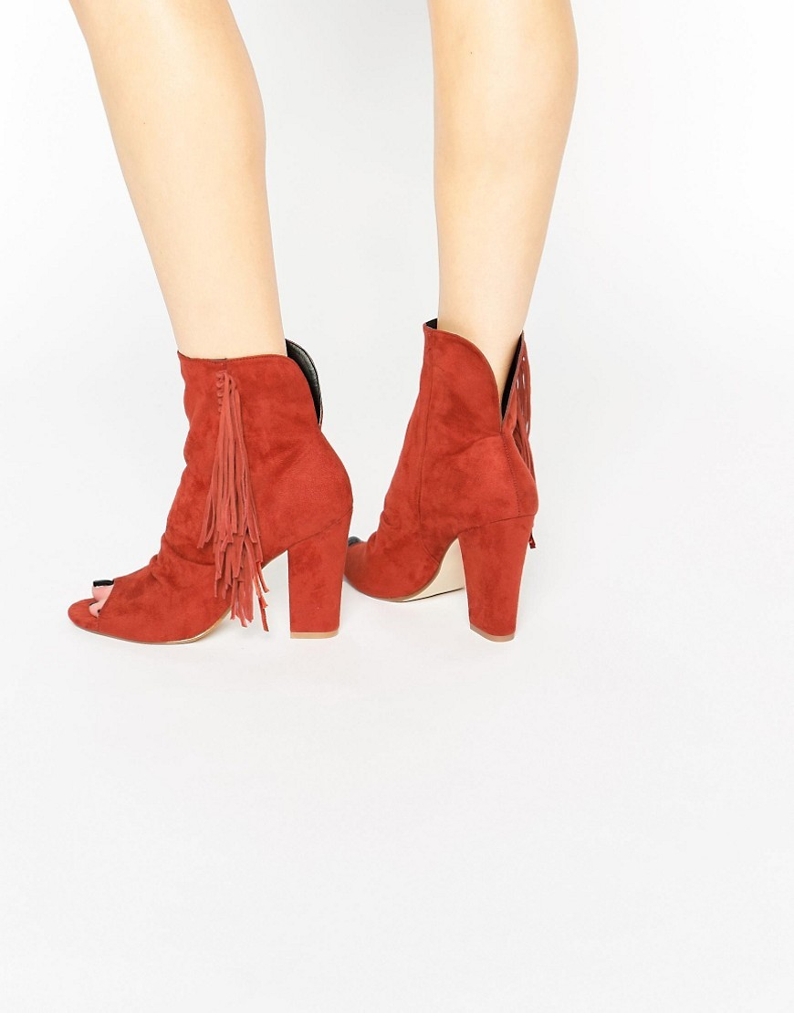 Elaine Peep Toe Ankle Boots Ginger - predominant colour: terracotta; occasions: casual, creative work; material: suede; heel height: mid; embellishment: tassels; heel: block; toe: open toe/peeptoe; boot length: ankle boot; style: standard; finish: plain; pattern: plain; season: s/s 2016; wardrobe: highlight