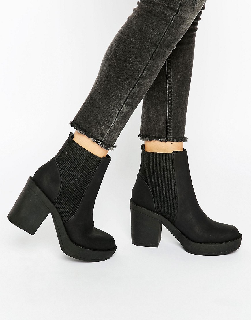Ethel Chunky Chelsea Ankle Boots Black - predominant colour: black; occasions: casual, creative work; heel height: high; heel: standard; toe: round toe; boot length: ankle boot; style: standard; finish: plain; pattern: plain; material: faux suede; season: s/s 2016; wardrobe: highlight