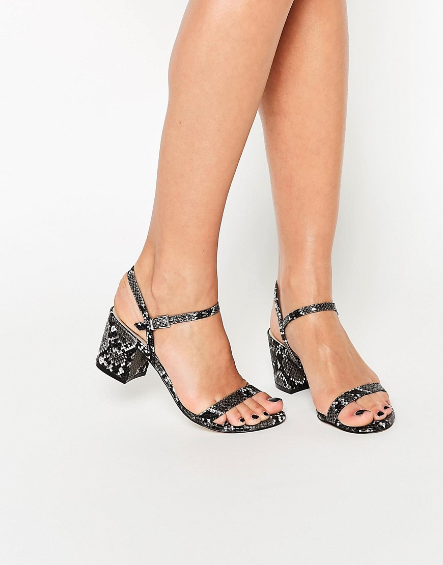 Honeycomb Heeled Sandals Mono Snake - predominant colour: black; occasions: casual, holiday; material: faux leather; heel height: mid; ankle detail: ankle strap; heel: block; toe: open toe/peeptoe; style: standard; finish: plain; pattern: animal print; season: s/s 2016