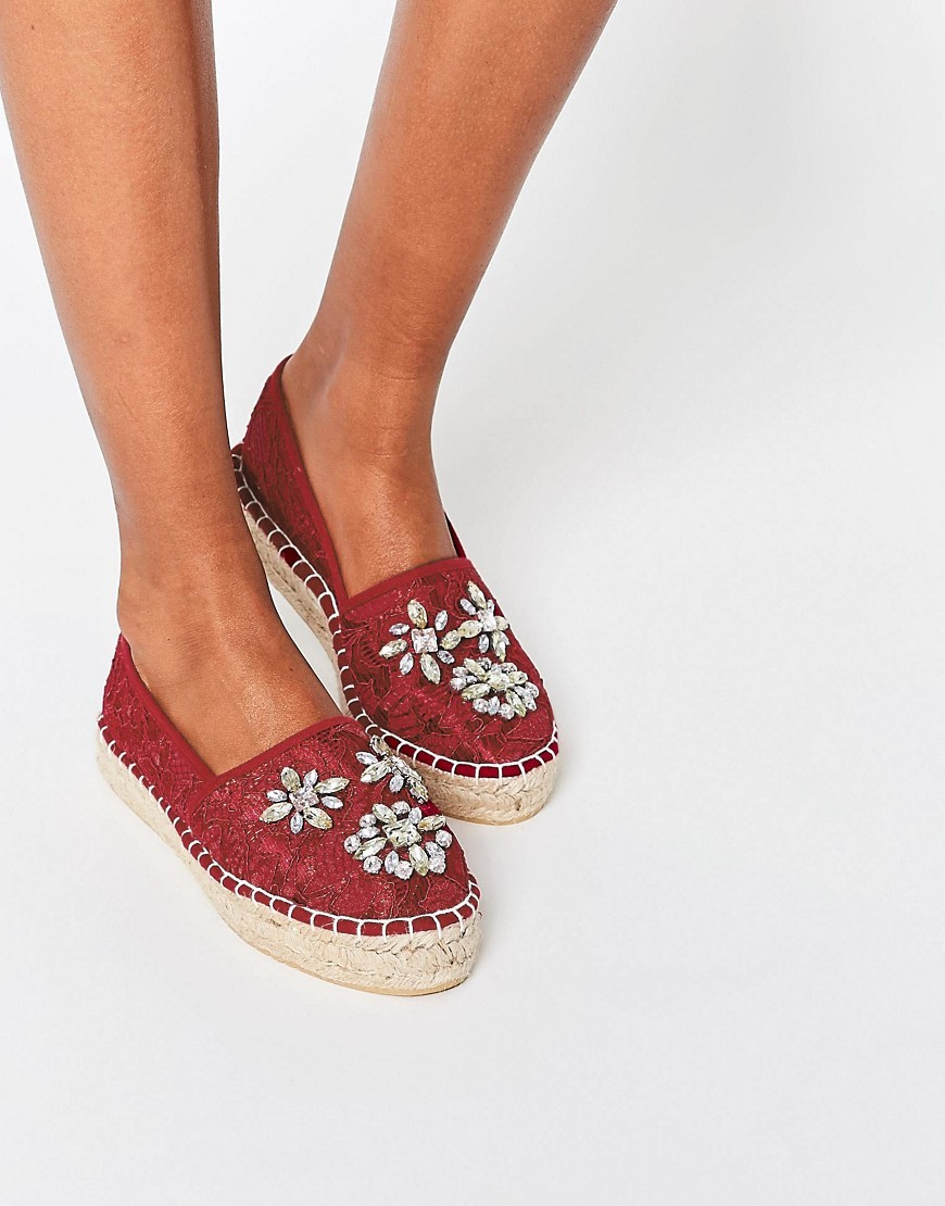 Jade Embellished Espadrilles Burgundy - predominant colour: burgundy; occasions: casual, holiday; material: fabric; heel height: flat; embellishment: jewels/stone; toe: round toe; finish: plain; pattern: plain; style: espadrilles; shoe detail: platform; season: s/s 2016; wardrobe: highlight