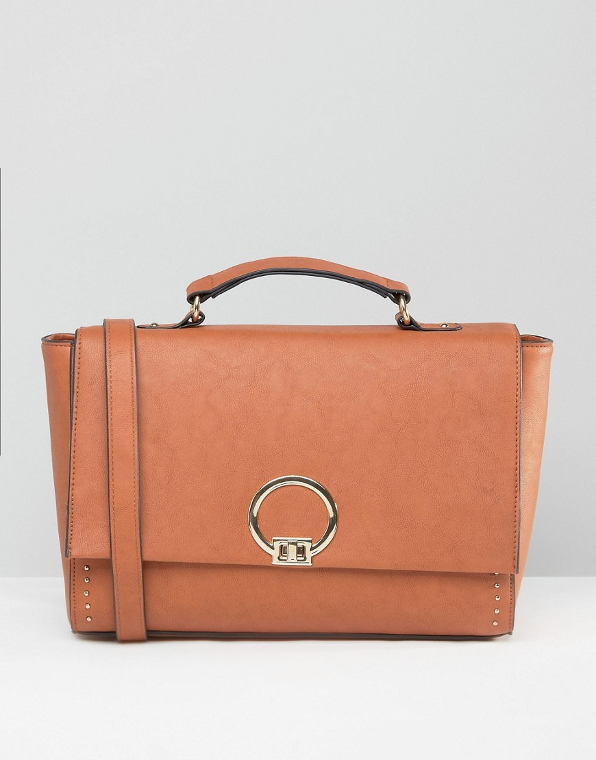 Satchel Bag With Metal Lock Tan - predominant colour: tan; occasions: casual, work, creative work; type of pattern: standard; style: satchel; length: handle; size: standard; material: faux leather; pattern: plain; finish: plain; season: s/s 2016
