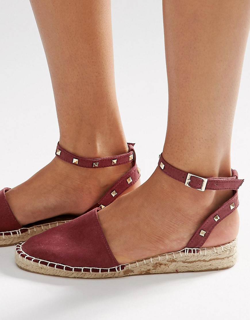 Jinx Studded Two Part Espadrilles Burgundy - predominant colour: burgundy; occasions: casual, holiday; material: fabric; heel height: flat; embellishment: studs; ankle detail: ankle strap; toe: round toe; finish: plain; pattern: plain; style: espadrilles; season: s/s 2016; wardrobe: highlight