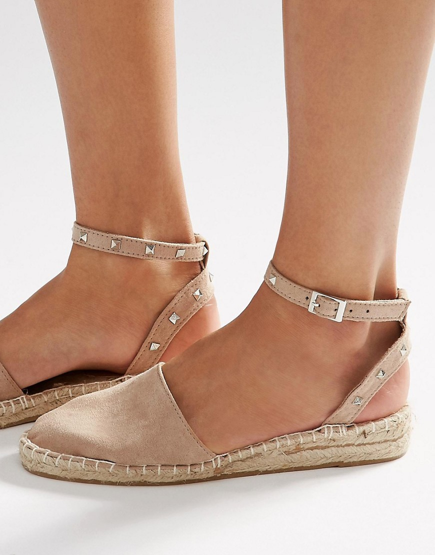 Jinx Studded Two Part Espadrilles Taupe - predominant colour: stone; occasions: casual; heel height: flat; embellishment: studs; ankle detail: ankle strap; toe: round toe; finish: plain; pattern: plain; style: espadrilles; material: faux suede; season: s/s 2016; wardrobe: basic