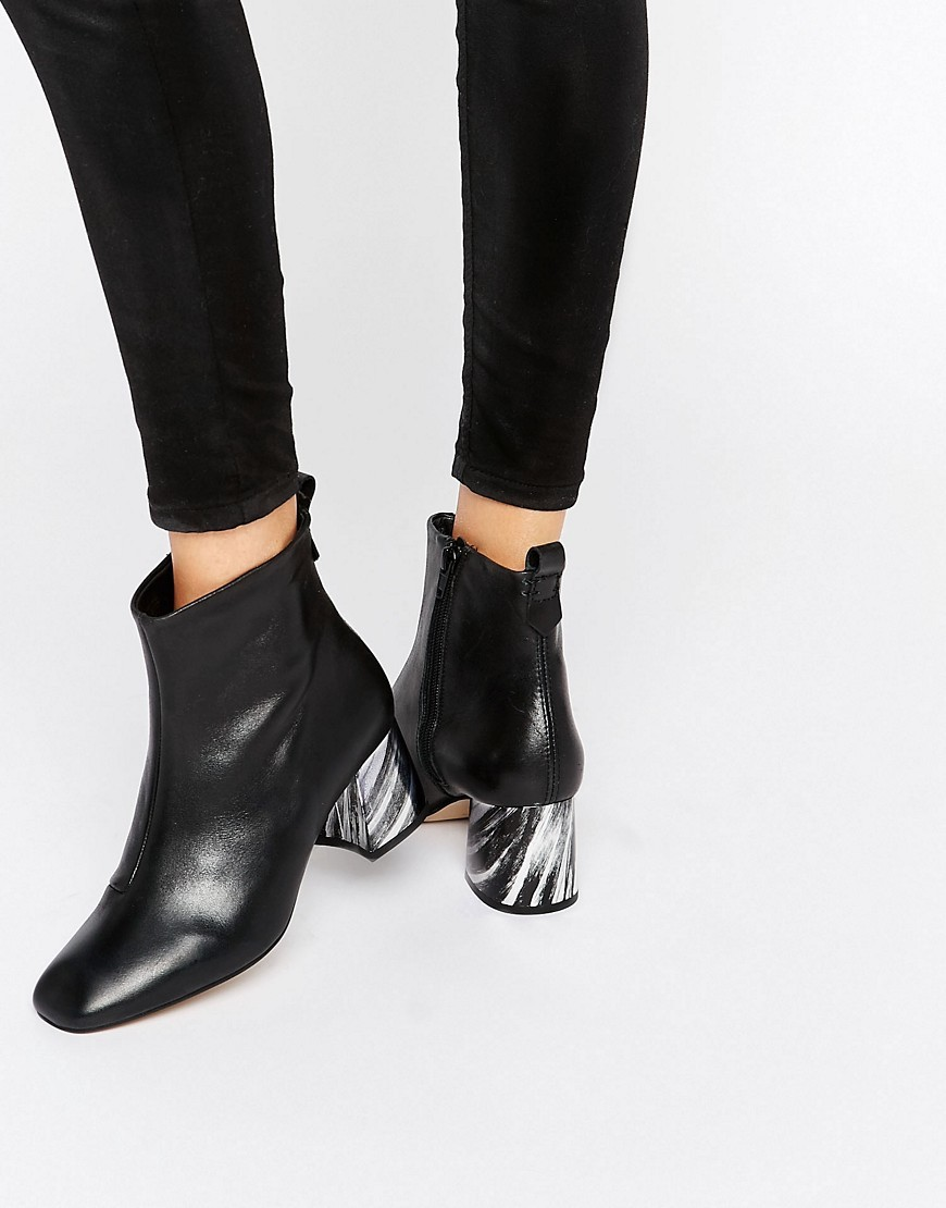 Kg Kurt Geiger Snoopy Leather Heeled Ankle Boots Black Leather - predominant colour: black; occasions: casual, creative work; material: leather; heel height: mid; heel: block; toe: square toe; boot length: ankle boot; style: standard; finish: plain; pattern: plain; season: s/s 2016