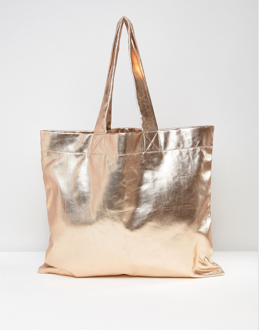 Oversized Metallic Fabric Shopper Bag Copper - predominant colour: bronze; occasions: casual, creative work; type of pattern: standard; style: tote; length: handle; size: standard; material: faux leather; pattern: plain; finish: metallic; season: s/s 2016; wardrobe: highlight