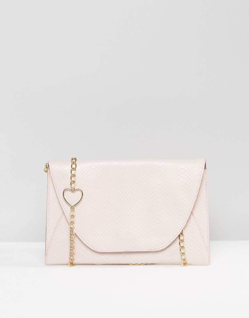 Shoulder Bag With Heart Chain Pink - predominant colour: blush; type of pattern: standard; style: shoulder; length: across body/long; size: standard; material: faux leather; pattern: plain; finish: plain; embellishment: chain/metal; occasions: creative work; season: s/s 2016; wardrobe: investment