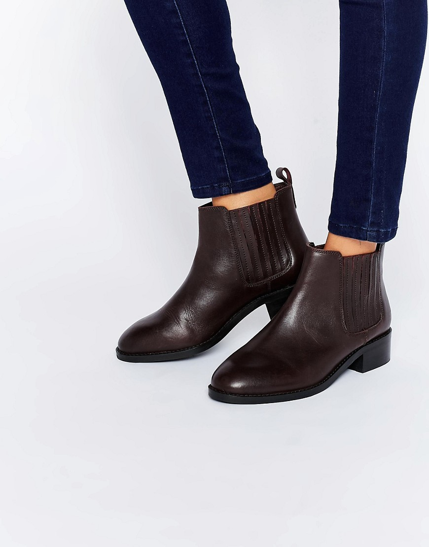 About Time Wide Fit Leather Chelsea Boots Oxblood - predominant colour: burgundy; occasions: casual, creative work; material: leather; heel height: flat; heel: block; toe: round toe; boot length: ankle boot; finish: plain; pattern: plain; style: chelsea; season: s/s 2016; wardrobe: highlight